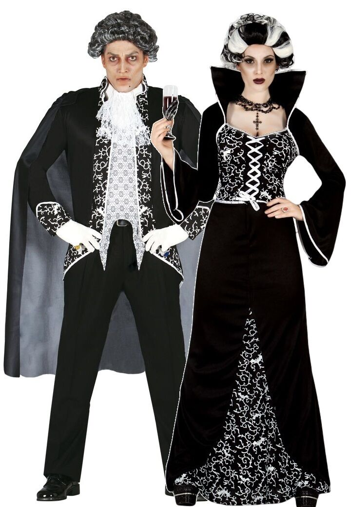 Picture 1 of 3 ...  sc 1 st  eBay & Ladies and Mens Couples Black/white Royal Vampire Halloween Fancy ...