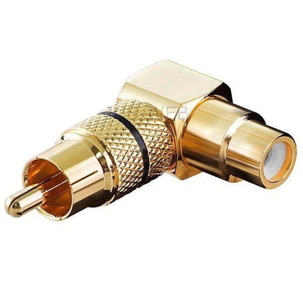 Audio Winkel Adapter 90° Cinch Stecker auf Buchse, vergoldet metall abg