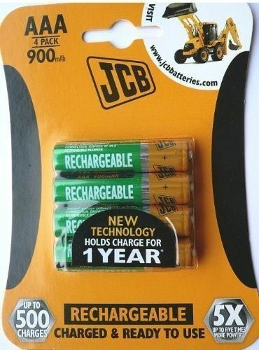 4 x JCB AAA 900MAH NI-MH 1.2v Rechargeable Batteries Charged & Ready To Use