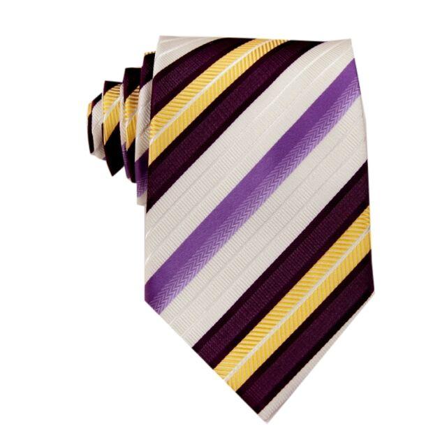 Purple White Striped 100% Silk Jacquard Classic Woven Men's Tie Necktie FS36