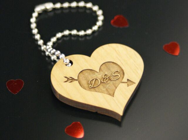 Personalised valentines wedding anniversary wooden heart keyring