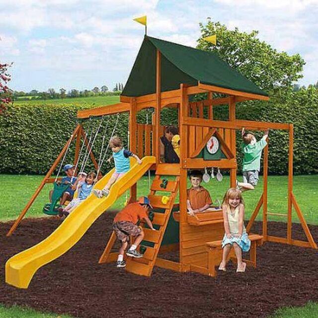 Cedar Summit Laurentian Cedar Wooden Swing Set Playground Outdoor Playhouse NEW & CEDAR Summit Laurentian Wooden Swing Set Replacement Canopies Only ...