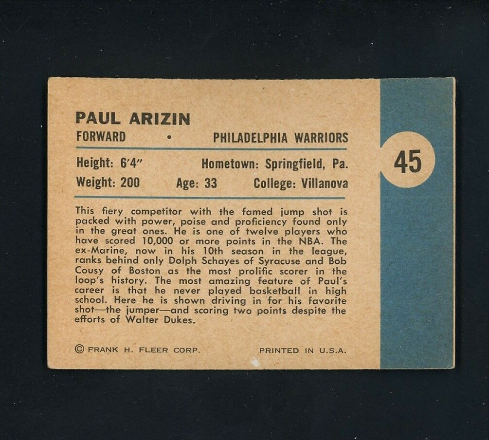 1961 1962 Fleer Paul Arizin Philadelphia Warriors 45 Basketball