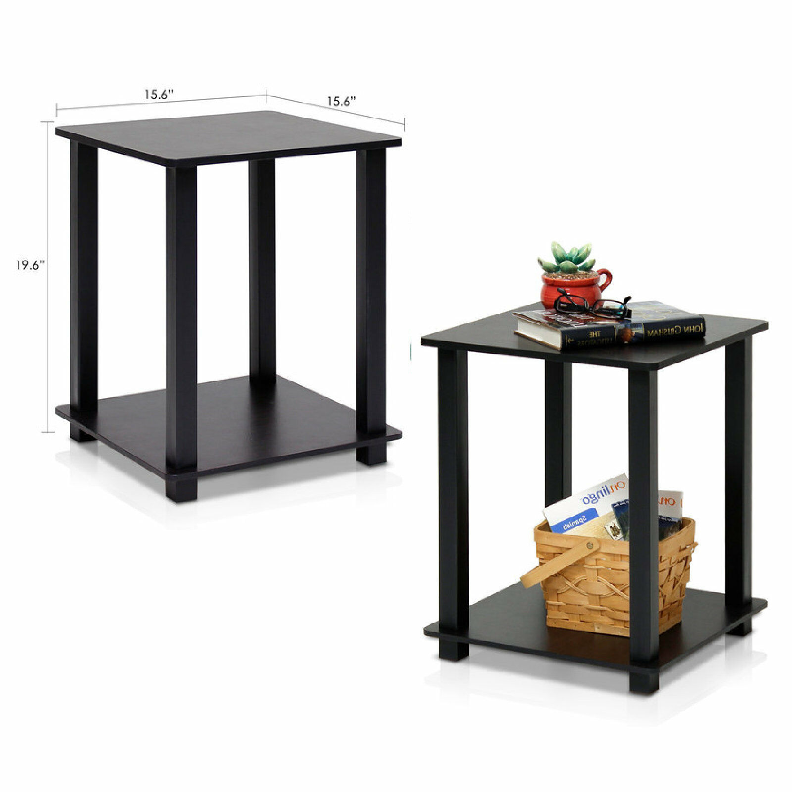 End Table Set 2 Small Side Tables Storage Shelf Wood Living Room ...