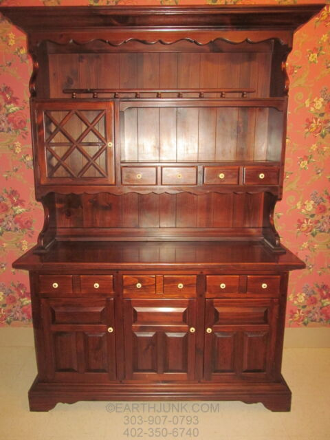 Ethan Allen Antiqued Old Tavern Pine China Hutch Cabinet