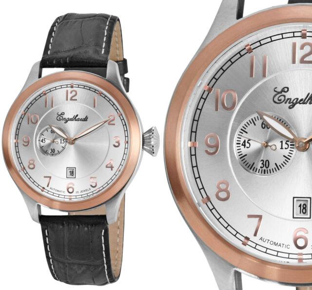 Herren Armbanduhr Automatik Silber/Kupfer/Schwarz Leder von ENGELHARDT 209,- UVP