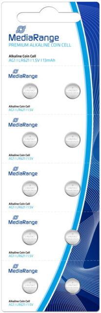 10 Mediarange AG1 / V 364 / LR621 Alkaline Knopfzelle Batterien im 10er Blister