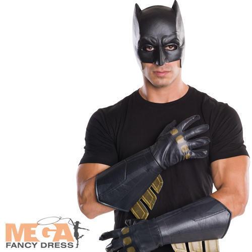Batman Adults Gauntlets Gloves Superhero Mens Fancy Dress Costume Accessory New