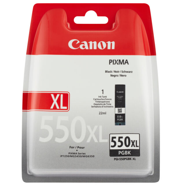 GENUINE OEM CANON PIXMA PGI-550PGBKXL HIGH CAPACITY BLACK PRINTER INK CARTRIDGE