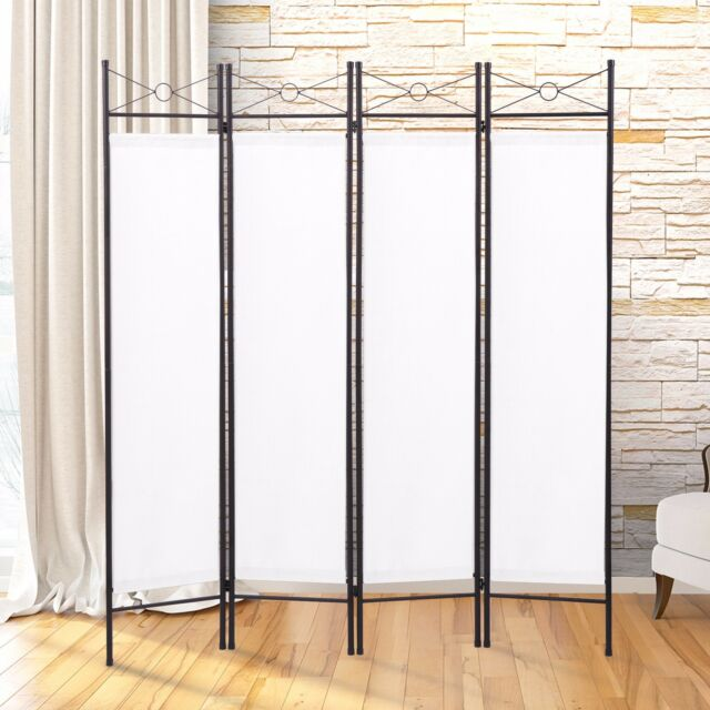 White 4 Panel Room Divider Privacy Folding Screen Home Office Fabric ...