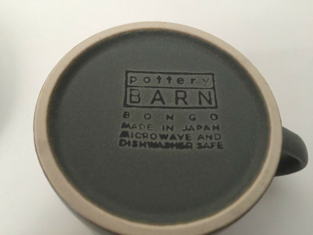 Pottery Barn Bongo Green Mugs and Saucers Set of 4 667147 Japan | eBay