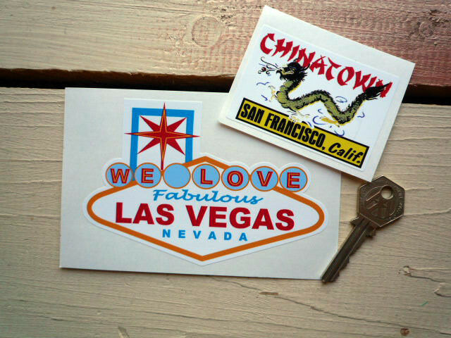 Las vegas chinatown sf calif classic usa car stickers
