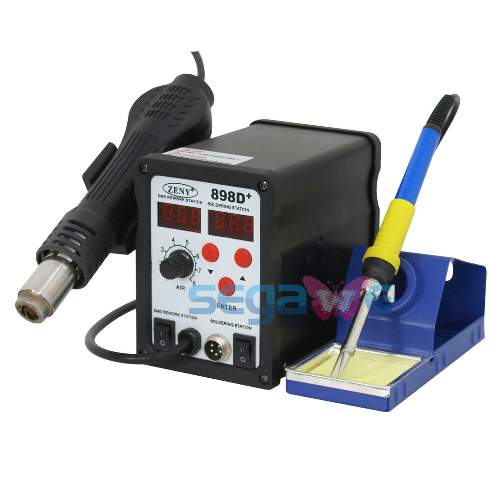 2in1 SMD Soldering Iron Hot Air Rework Station W/ Tips Nozzle Stand ...
