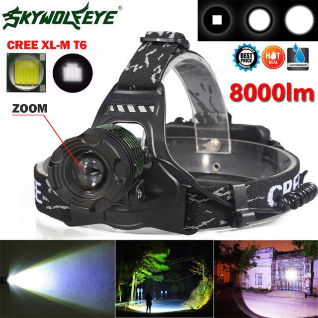 8000LM CREE XM-L T6 LED Headlamp Headlight ZOOMABLE Head Light 18650 Super Lamp