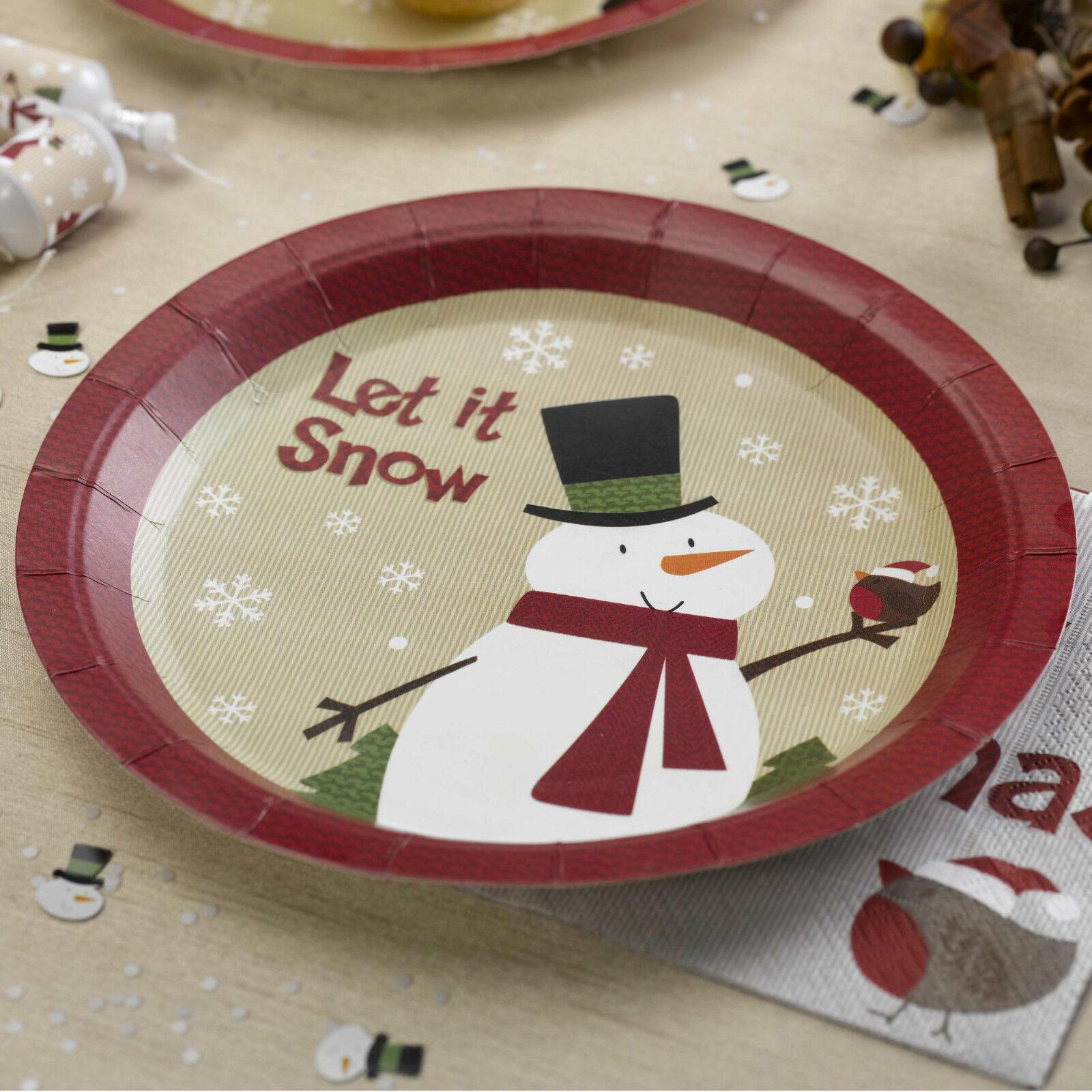 Picture 1 of 1 & 8 Let It Snow Snowman Christmas Paper Plates Xmas Tableware Festive ...