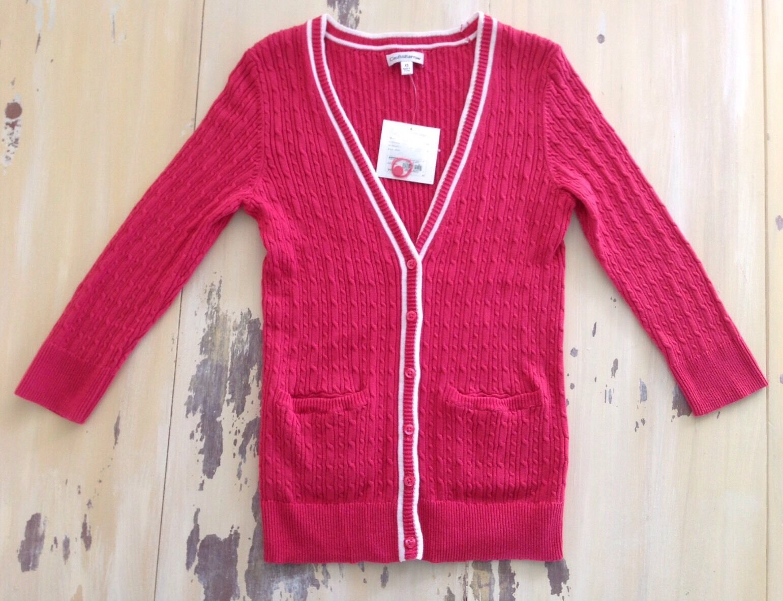 Croft & Barrow - Womens Claret Red Cotton Cardigan Sweater Sz XS ...
