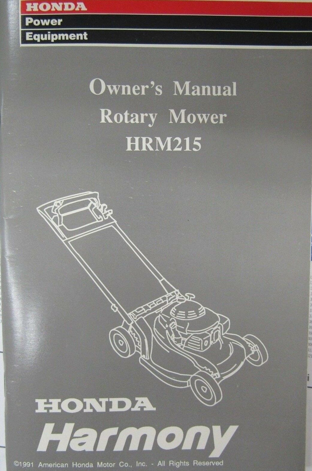 honda owner s manual for rotary mower hrm215 ebay rh ebay com Honda Harmony HRB215 Lawn Mower Honda Harmony HRM 215 Manual