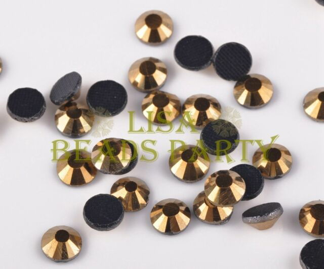New 100pcs SS30 6mm 16 Facets DMC Hotfix Iron On Crystal Rhinestones Metal Gold