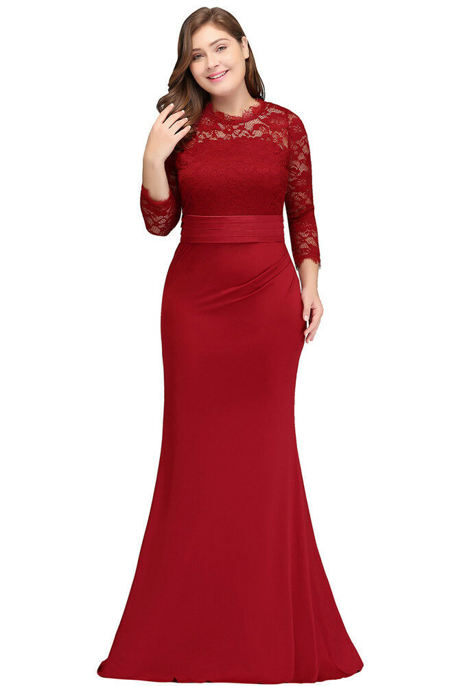 Long Lace Evening Prom Formal Party Dress Bridesmaid Dresses ...
