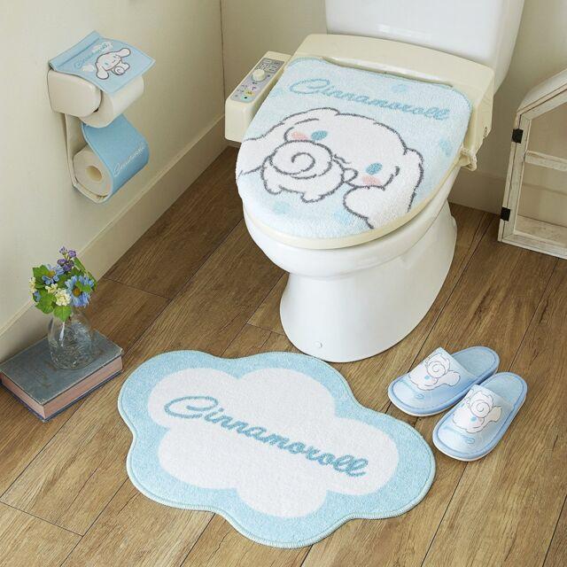 japanese toilet paper holder. Sanrio Cinnamoroll Toilet Seat  Paper Cover Set with Matt Slipper Lid Mats Slippers Holder
