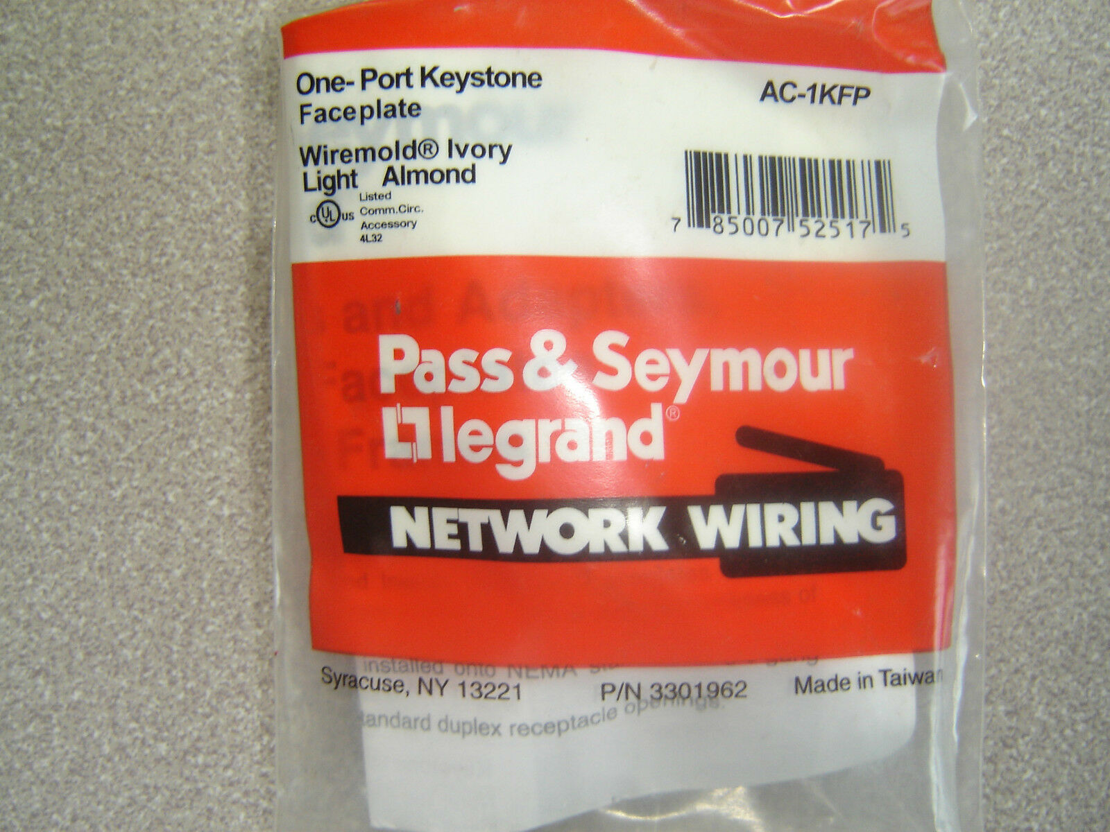 Ac 1kfp One Port Keystone Faceplate Light Almond Ivory Network Wiring Picture 1 Of 4