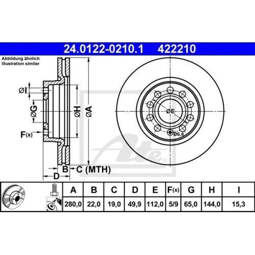 ATE 24.0122-0210.1 Bremsscheibe Vorderachse