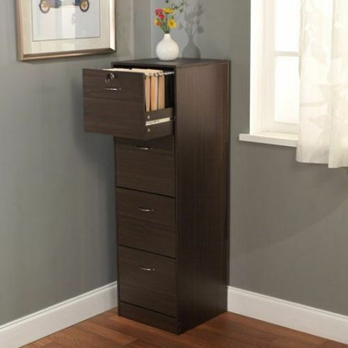 4 Drawer Filing Cabinet Brown Office Storage Home Furniture Wood Organizer  Lock