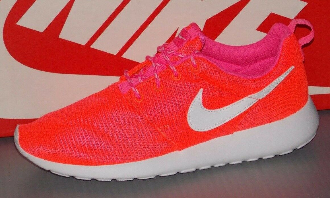 Nike Rosherun GS Sz 5.5y Lava Glow/White-Pink POW Run Running Shoes Best Comfort