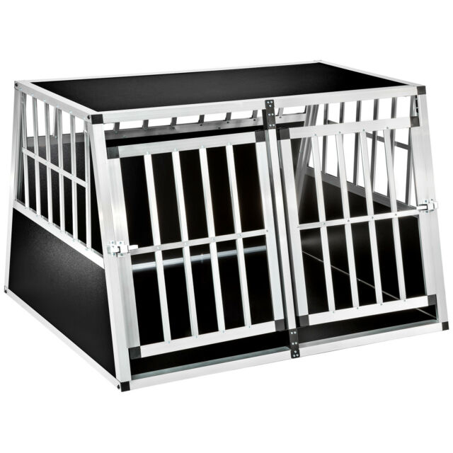 xxl double dog cage trapezoidal aluminium wood transport car travel carrier box