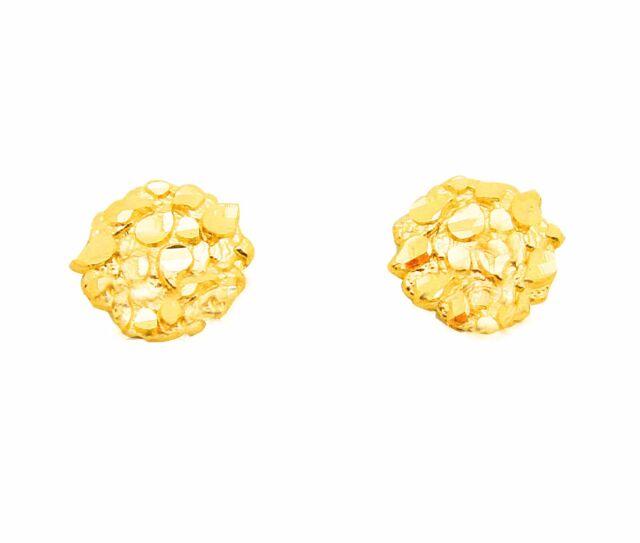Favorite Men's Women's 10k Yellow Gold Small Nugget Earrings 0.6 G | eBay VJ72