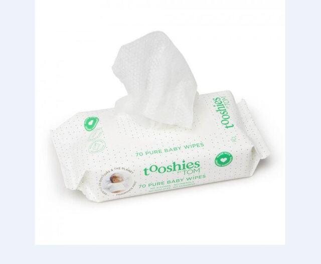 16 x 70pk  (1120 Wipes) NEW Tooshies by TOM eco Baby Wipes BULK * FREEPOST