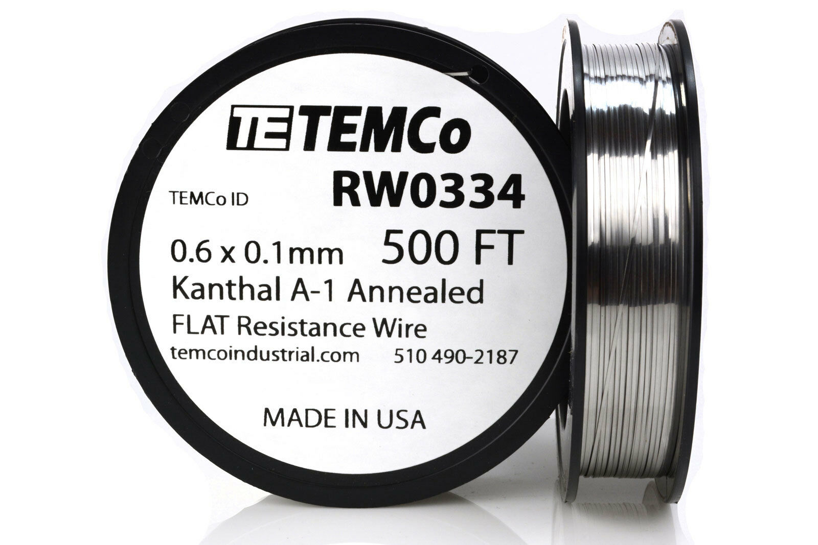 Temco Flat Ribbon Kanthal A1 Wire 0.6mm X 0.1mm 500 FT Resistance A ...