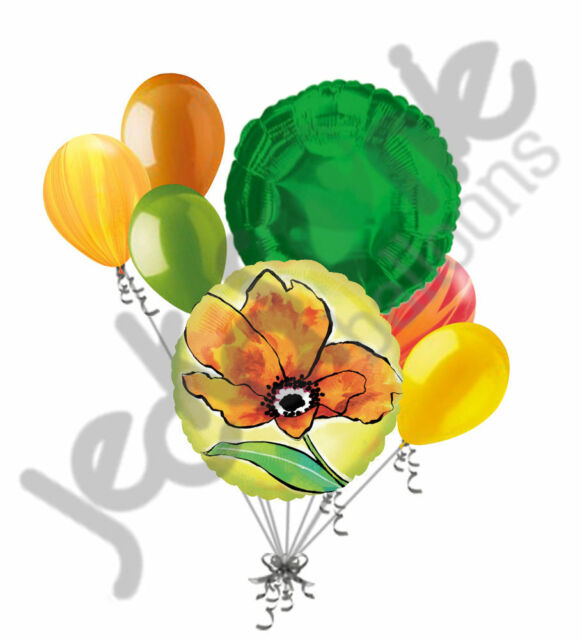 7pc Painted Yellow Flower Balloon Bouquet Party Decoration Birthday ...