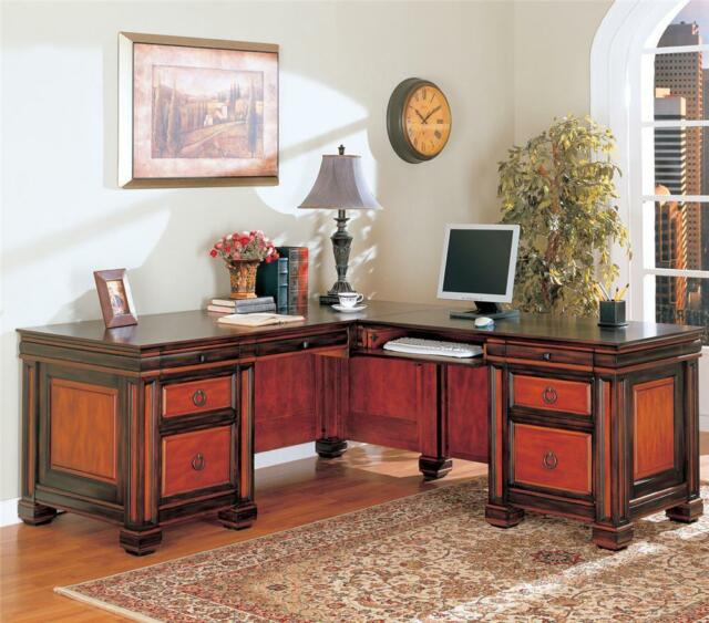 Coaster Furniture 800691 Traditional L Shaped Desk In Two Tone Finish