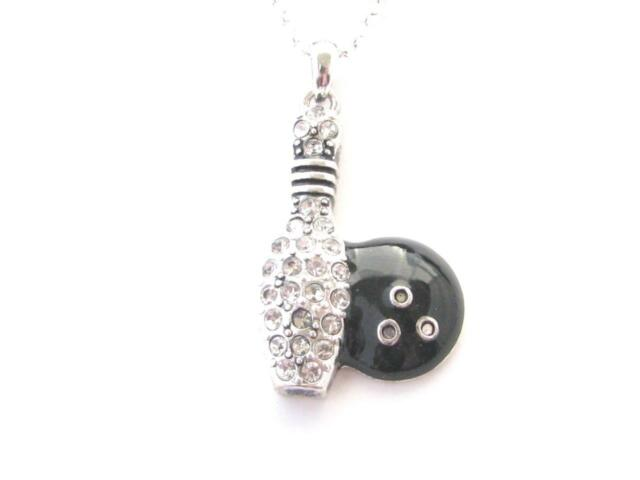 Bowling pin ball black clear crystal pendant fashion silver chain bowling pin ball black clear crystal pendant fashion silver chain necklace aloadofball Gallery