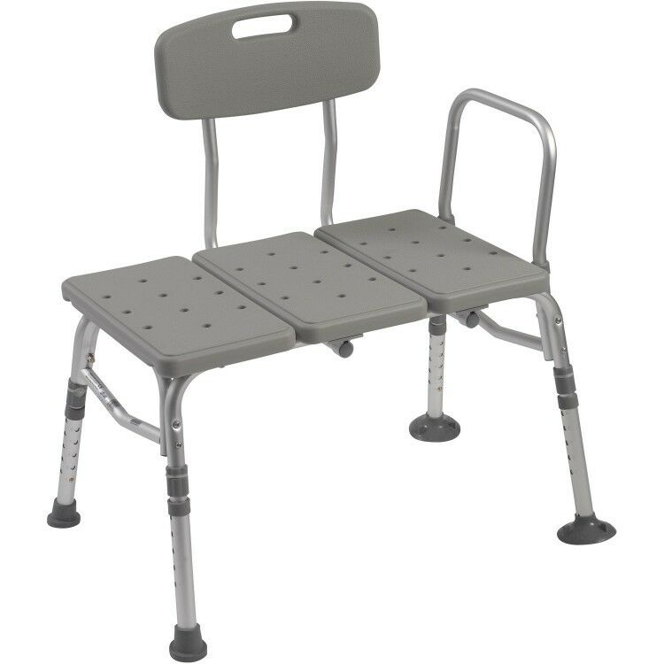Adjustable Transfer Bench Chair Heavy Duty Shower Bath Tub Seat Back ...