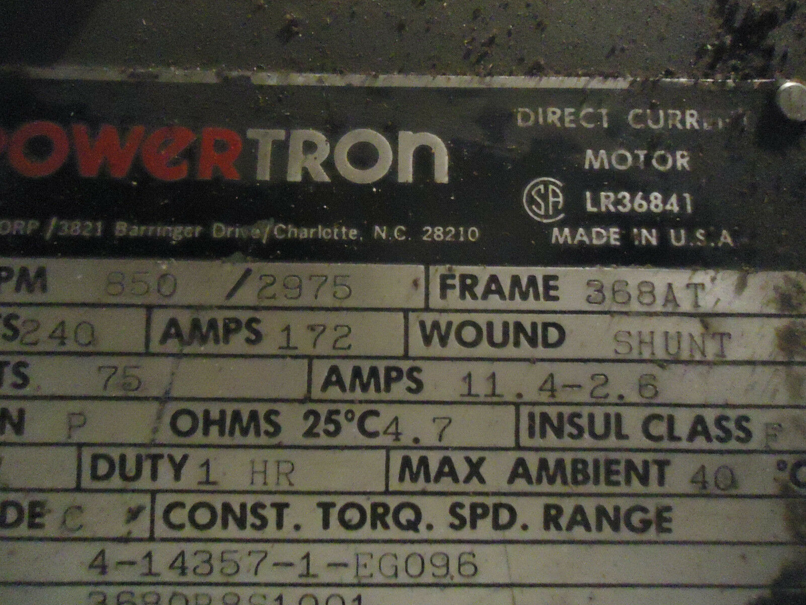 Powertron DC Motor 368at Frame 50hp 850/2975rpm Shunt Wound | eBay