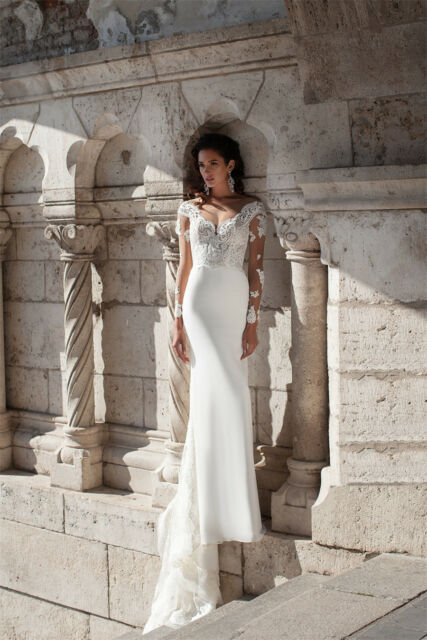 White Ivory Lace Top Mermaid Wedding Dress Long Sleeves Chiffon ...