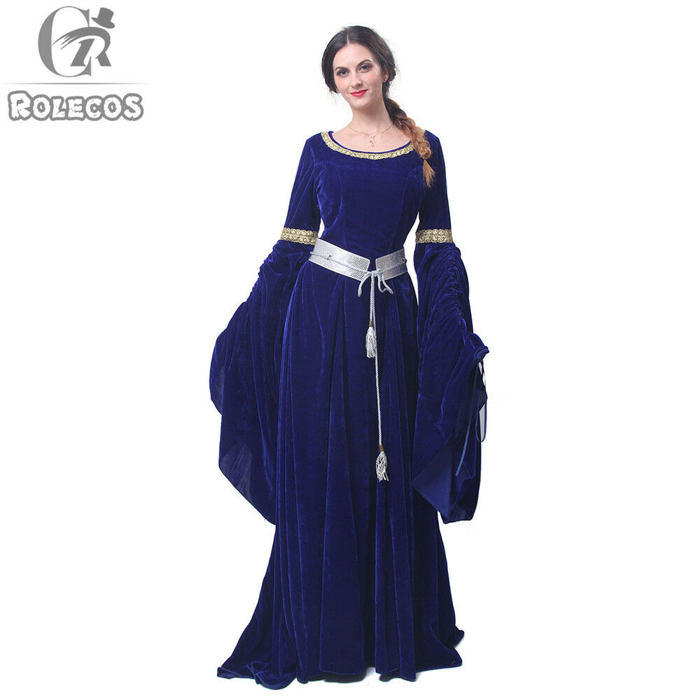 Women Velvet Medieval Renaissance Dress Celtic Queen Gown LARP ...