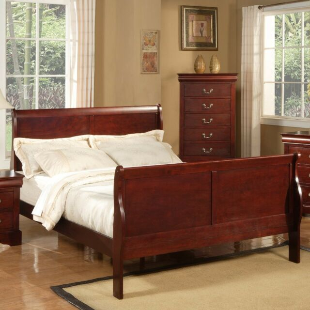 Queen Sleigh Bed Frame Headboard Footboard Cherry Vintage Wood Contemporary Beds