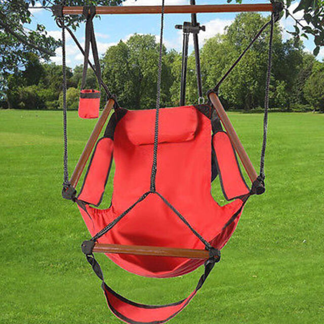 Charmant Deluxe Air Hammock Hanging Patio Tree Sky Swing Chair Outdoor Porch Lounge  Red