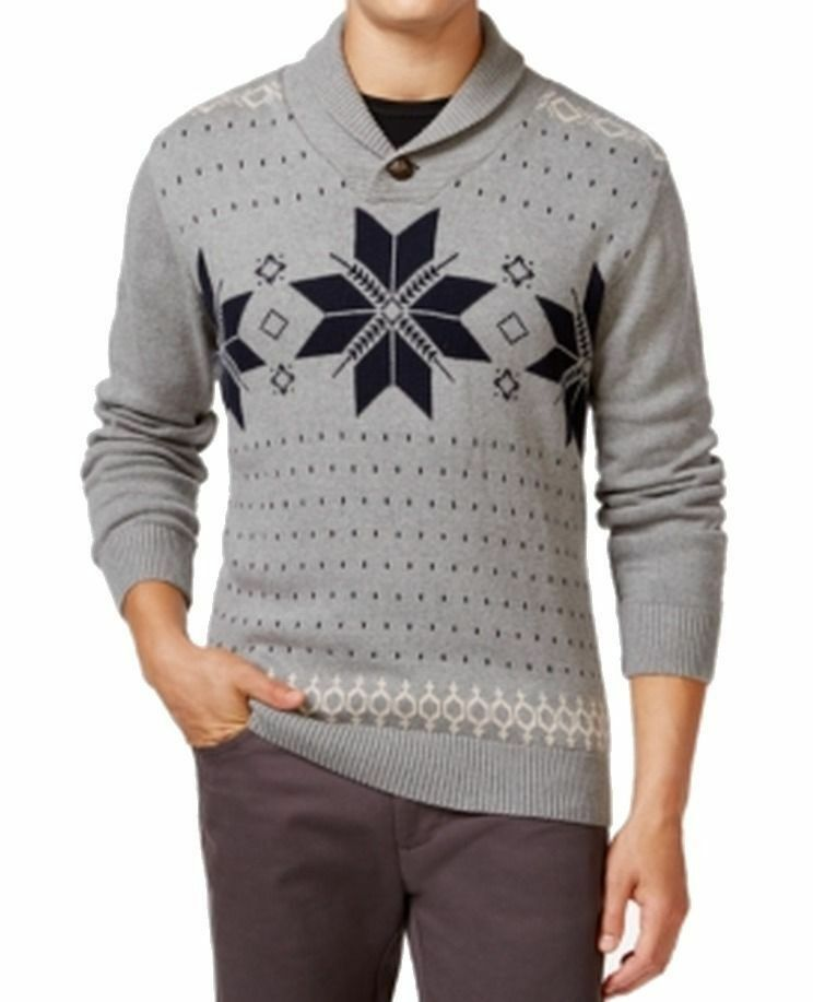 Weatherproof Gray Mens Size Large L Shawl Collar Fair Isle Sweater ...
