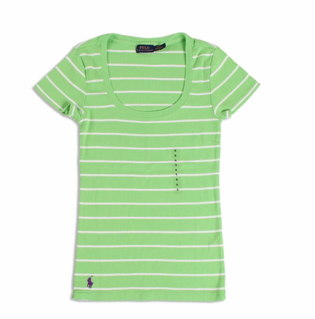Polo Ralph Lauren Lime Green White Striped Shirt Women's Size XL ...