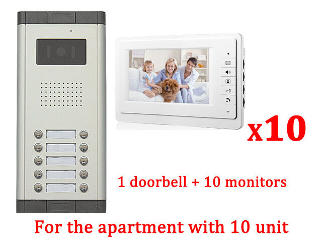 Apartment 10 Unit Intercom Entry System Wired Video Door Phone Audio ...