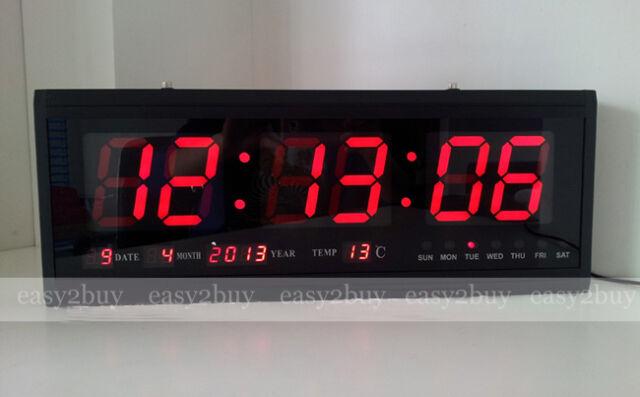 Large Modern Design Digital LED Skeleton Wall Clock Timer 2412 Hour