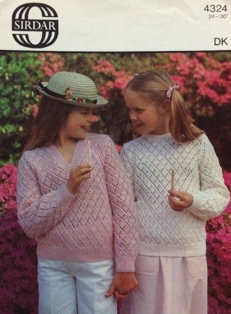 Knitting Pattern Sirdar 4324 Childs Dk Lacy V And Round Neck Sweater