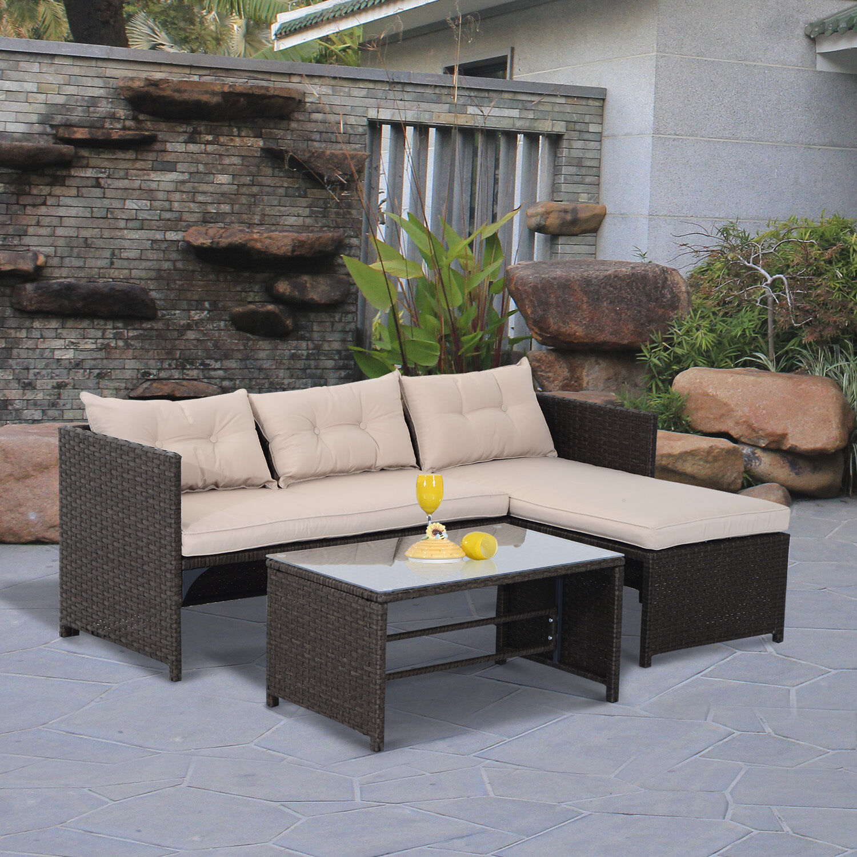 3pc Outdoor Patio Sofa Set PE Rattan Wicker Deck Couch Garden