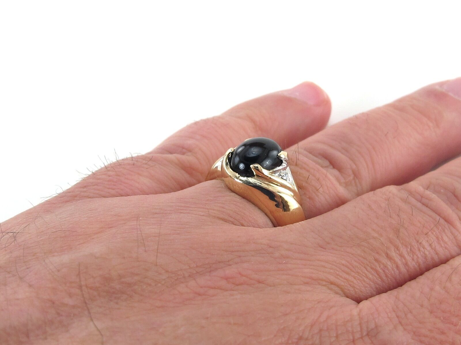 Mens 14k Yellow Gold Diamond and Onyx Dad Ring Size 9 | eBay