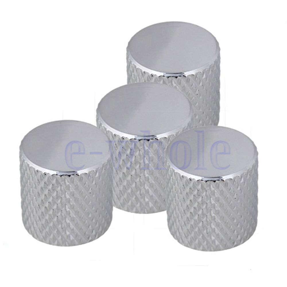 4 Pcs Chrome Guitar Bass Flat Top Barrel Knob Quality Telecaster  # Table Bass Tele