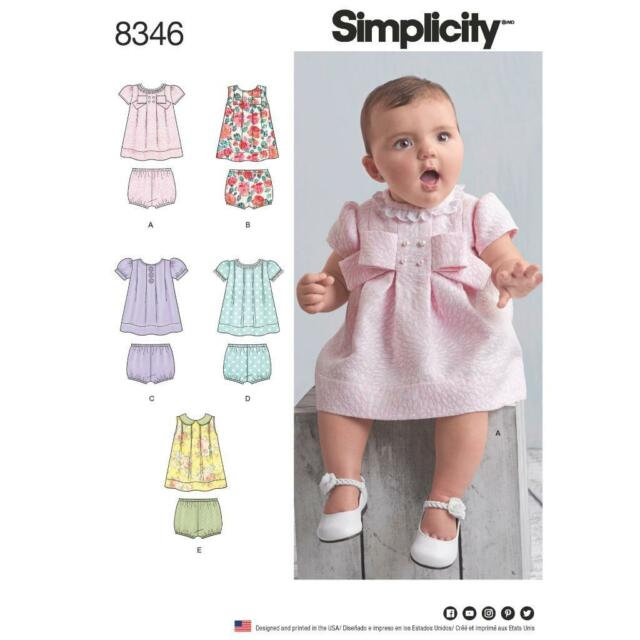 Simplicity Sewing Pattern 8346 Babies Dress Panties Xxs L Ebay